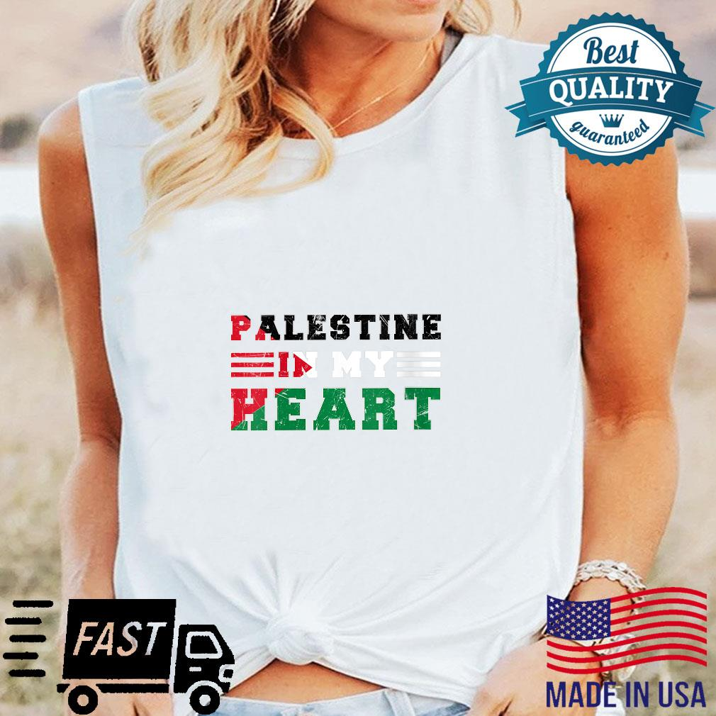 Womens Palestine In My Heart Shirt long sleeved